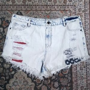 Mossimo high rise distressed American flag shorts.